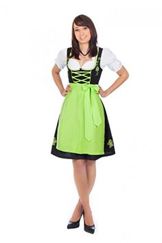 Authentic bavarian Trachten Dirndl dress 3-pieces with apron blouse black green 40 US10  Special Offer: $79.95  244 Reviews 3-piece dirndl in black with green embroidery , matching green skirt and white blouse ruffles Dirndl The elaborate floral embroidery on the skirt and on the...