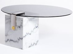 Round Marble Patch Coffee TableWith Brass Details, By Egg Designs