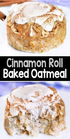 Cinnamon Roll Baked Oatmeal Baked Oatmeal Recipes, Baked Oats, Cinnamon Recipes, Healthy Baked Oatmeal, Easy Baking Recipes, Cooking Recipes, Amish Recipes, Dutch Recipes, Breakfast Recipes