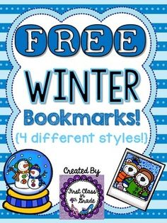 Just in time for Winter! I created these bookmarks & couldn't wait to share with you -- for free!  Included are 4 different styles with winter-themed sayings to promote reading!   Print, (laminate?), cut, and enjoy!  Feedback is appreciated. Thank you!