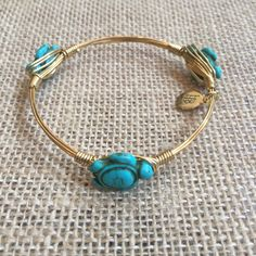 Bourbon and Boweties Turquoise Turtle Bangle Standard Wrist