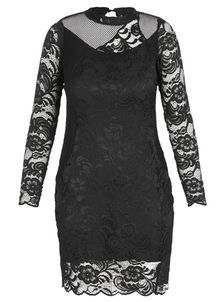 City Chic Black Lace Contrast Dress