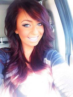 Super cute brunette hair with blonde on bottom! I want my brunette hair like that!