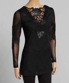 Black Scrolling Crochet Silk-Blend Tunic - Women by Pretty Angel #zulily #zulilyfinds