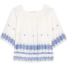 Vanessa Bruno Dalma embroidered cotton-blend top (7.490.110 VND) ❤ liked on Polyvore featuring tops, white, embroidered boho top, smocked peasant top, boho chic tops, white embroidered top and boho peasant tops