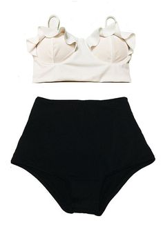 White Midkini Top and Black High Waisted Waist by venderstore