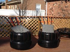 tire art, tire stools, recycled tire, repurposed tire