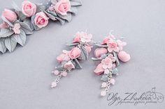 Комплект украшений «Pink&Grey» « Украшения ручной работы. Украшения из полимерной глины. Авторские украшения