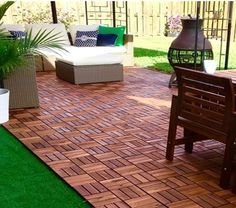 Check out how this IKEA fan used outdoor furniture and RUNNEN floor decking to create a backyard oasis! Ikea Outdoor Flooring, Ikea Patio, Used Outdoor Furniture, Patio Flooring, Log Furniture, Ikea Flooring, Furniture Ideas, Garage Flooring, Wooden Flooring