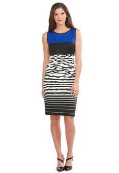 5f7f9a5b744  MYCATOSUMMERSTYLE Cato Fashions Colorblock Zebra Sheath Dress  CatoFashions  Plus Dresses