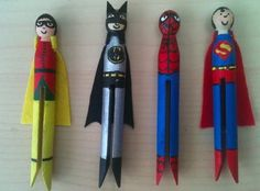 Superhero Clothespin Dolls Make these fun clothespin wrap dolls- guaranteed to save the day AND make you smile. Craft Stick Crafts, Fun Crafts, Crafts For Kids, Arts And Crafts, Clothespin Dolls, Clothespin Crafts, Clothes Pegs, Dress Clothes, Superhero Party