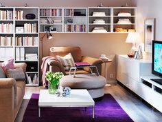 Note: shelf lights, heights, light placements, small tables, decorative shelf spacings