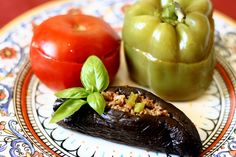 Stuffed Eggplants, Peppers and Tomatoes (Badimjan Dolmasi)
