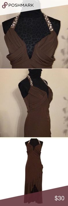 Jeweled Halter Neck Dress Chocolate brown halter style dress with faux rhinestones around the neck. Cute diagonal cut and ruffle make this a cute dress for special occasions. Worn once. Dresses