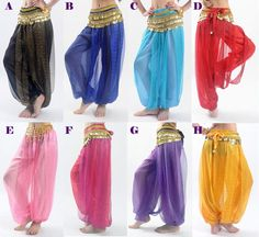 Belly Dance Tribal Costume Shinny Sequin Balloon Bloomers Trousers Harem Pants | eBay
