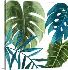 New 'Tropical Leaves I' Asia Jensen Painting Print by Great Big Canvas. Wall Art Decor from top store Canvas Artwork, Canvas Wall Art, Canvas Prints, Big Canvas, Canvas Size, Framed Wall Art, Framed Prints, Painted Leaves, Leaf Art