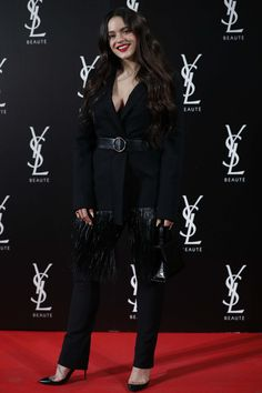 Chic: Rosalia favoured a chic suit that paired together a tailored blazer, complete with f. Girl Fashion, Womens Fashion, Fashion Black, Woman Crush, Black Is Beautiful, Juicy Couture, Cool Outfits, Party Outfits, Red Carpet