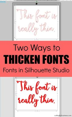 2 Ways to Thicken Fonts in Silhouette Studio - Fonts - Ideas of Fonts - 2 Ways to Thicken Fonts in Silhouette Studio for cutting on Cameo or Curio by cuttingforbusines Plotter Silhouette Cameo, Silhouette Fonts, Silhouette Cutter, Silhouette School, Silhouette Cameo Machine, Silhouette Projects, Silhouette Design, Silhouette Cameo Shirt, Silouette Cameo Projects