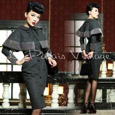 Le Palais Vintage 50's Wool Baby Doll Cape Dress Suit - Designed by Winny #LePalaisVintage #DressSuit