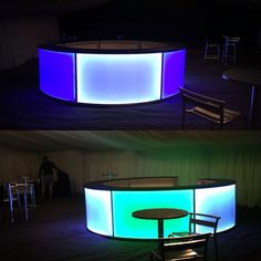 Our Full Round Bar can suit any colour scheme with its colour changing LED panels, like this one in Danbury.  #events #wedding #barhire #colourful www.alfrescohire.co.uk 01279 870997
