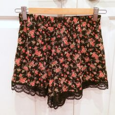 Nordstrom Lace Trim Floral Print Shorts LAST TWO PICTURES SHOW THE FIT ONLY! High rise. Orange floral design on black lace trim shorts. Barely worn, great condition. Brand is Lush from Nordstrom. Nordstrom - Lush Shorts