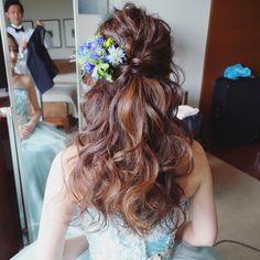 お色直しはハーフアップ🎉💄 艶と立体感をしっかりと出してます🙆🏻 hair_yukino #日式髮型#日式新娘#新娘髮型#空氣髮型#新娘#空氣感#結婚#西式新娘#updo#bridal#bride#hairmake