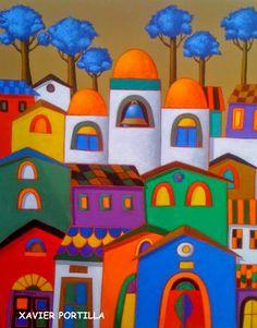"""XAVIER PORTILLA Guayaquil, Ecuador - 1965      """"Una paleta que derrocha arte, color y alegría""""  (1)         XAVIER PORTILLA       """"Nace en G..."""