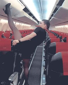 This stewardess does not need a hands