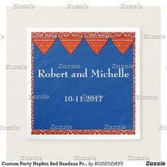 Shop Custom Party Napkin Red Bandana Print created by RODEODAYS. Red Bandana, Bandana Print, Western Weddings, Party Napkins, Ecru Color, Letter Board, Presentation, Prints, Cowgirl Wedding