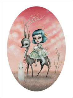 Mab Graves - Emilia the Runaway Limited Edition Print - Custom Framed #PopSurrealism