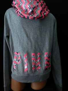 Victoria Secret Pink Bling Sequin Gray Aztec Hoodie Jacket L