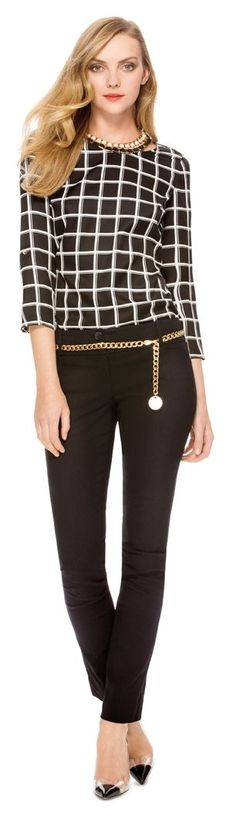 Guy Code- Create this look with our Grid Print Top, Exact Stretch Straight Leg Pants and Skinny Chain Belt from THELIMITED.com