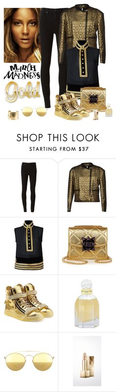 """""""March Madness Gold"""" by katiethomas-2 ❤ liked on Polyvore featuring Paige Denim, Faith Connexion, Dsquared2, Marc Jacobs, Giuseppe Zanotti, Balenciaga, Mykita, Burberry and Wouters & Hendrix Gold"""