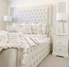 Bedding Master Bedroom, Master Bedrooms, Bedroom Decor, Chesterfield Bed, Cream Bedrooms, Cream Bedding, Bed Company, Superking Bed, Velvet Bed
