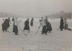 Ice hockey on a lake, 1917