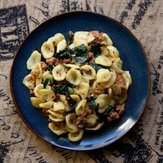 Homemade orecchiette with spicy sausage and kale (homemade ...