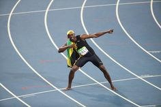 The moment of victory - Jamaican sprinter Usain Bolt celebrates after winning men's 100 metres - Olympic Games, Rio de Janeiro Usain Bolt, Rimmel, Olympic Games, Victorious, Basketball Court, In This Moment, Celebrities, Sports, Rio De Janeiro