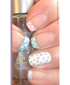 Cute Easter Nail Art and Nail Designs - iVillage Polka Dot Nails Get Nails, Fancy Nails, Pretty Nails, Hair And Nails, Spring Nail Art, Spring Nails, Uñas Fashion, Fashion Clothes, Latest Fashion