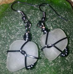 White Wire Wrapped Sea Glass Earrings with a by MermaidsCavern, $10.00