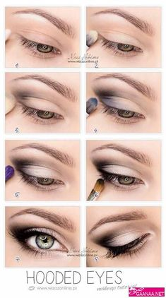 So pretty-------Hooded Eyes Makeup. This works so well for hooded eyes, you wouldn't believe it until u try. It's not that drastic, mostly black eyeshadow, eyeliner and mascara. But it makes a huge difference Makeup Hacks, Eye Makeup Tips, Skin Makeup, Beauty Makeup, Makeup Ideas, Makeup Products, Mac Makeup, Prom Makeup, Beauty Products