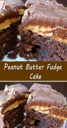 Peanut Butter Fudge Cake, Peanut Butter Desserts, Chocolate Desserts, Chocolate Fudge Cake, Baking Recipes, Cake Recipes, Dessert Recipes, Easy Desserts, Delicious Desserts