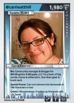 Community manager & blogger for @thilllogistics  I'm a lover of big words, rhyme & alliteration. Star Wars geek & book nerd.