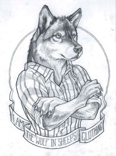 """I'm the wolf in sheep's clothing"". Cool wolf tattoo"