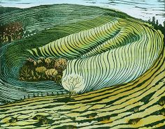 Liz-Somerville,Eggardon Dip.  English artist who graduated with a textile design and now concentrates on printmaking and painting from her Dorset home. She is inspired by Ravilious, Nash and  particularly Bawden. If you visit her website here you can see examples of her landscapes, architecture and seascapes. I love the quite retro colour palette she uses and the flowing lines of her landscapes.