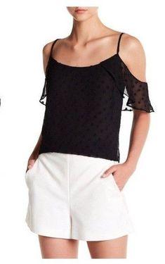 945b65ae5 Vince Camuto Womens Black Cold Shoulder Top Flutter Sleeve Sz L for sale  online | eBay