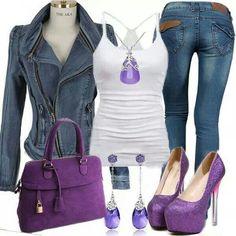 #purplelook #bling #casual #denim #fashion   www.yoamoleszapatos.com