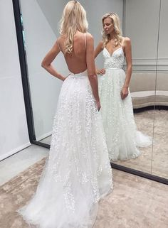 Handmade Floral Wedding Dress,Sexy Open Back Spaghetti Straps Wedding Dress,Boho Wedding Dress · Sancta Sophia · Online Store Powered by Storenvy Ball gown wedding dresses 2020 Long Gown For Wedding, Lace Wedding Dress, Wedding Dresses With Straps, Applique Wedding Dress, Backless Wedding, Sexy Wedding Dresses, Bridal Lace, Sexy Dresses, Bridal Dresses