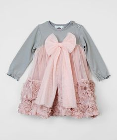 Look what I found on #zulily! Gray & Vintage Rose Rosette Bow Dress - Infant by Baby Loo #zulilyfinds