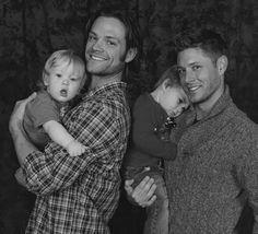 Jared Padalecki & Jensen Ackles with their babies in their arms
