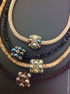 Kumihimo necklaces with beaded bead focal.